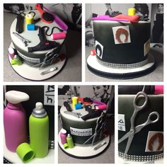 hairdressers / hairdressing themed cake - all items are edible.