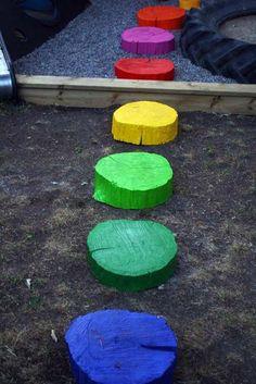 Log border around playground