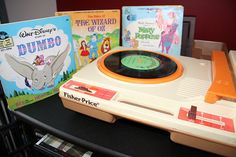 fisher price record player and disney records