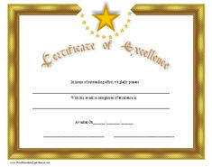 Certificate of Excellence Printable Certificate Free Certificate Maker, Free Printable Certificates, Free Certificate Templates, Award Certificates, Certificate Design, Free Printables, Templates Free, Certificate Border, Perfect Attendance Certificate