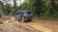 Aminah our overland truck driving from Kenema in Sierra Leone to Monrovia in Liberia Overland Truck, Liberia, The Beautiful Country, West Africa, Sierra Leone, Trucks, Truck