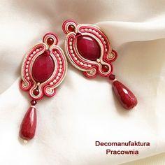 Fabric Jewelry, Beaded Jewelry, Beaded Earrings, Glass Jewelry, Tutorial Soutache, Bead Crafts, Jewelry Crafts, Earrings Handmade, Handmade Jewelry