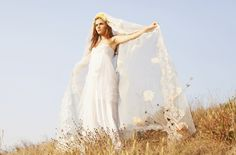 Love Story - Romantic Swiss Dot Net Wedding Gown - Bohemian Made to Order Wedding Dress. $2,300.00, via Etsy.