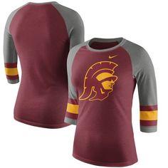USC Trojans Nike Women's Sleeve Stripe Raglan 3/4 Sleeve Tri-Blend T-Shirt - Cardinal