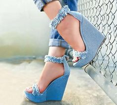 Eilyken 2019 New Designer Print Denim Sandals Roman Sandals High Quality Wedges High Heels Peep Toe Platform Shoes Woman-in High Heels from Shoes on AliExpress Studded Heels, Wedge Heels, Pumps Heels, Shoe Wedges, High Heel Pumps, Pretty Shoes, Beautiful Shoes, Denim Sandals, Denim Shoes