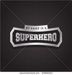 Super hero power full typography, t-shirt graphics, vectors. Logo set. Luxury, royal metal - stock vector