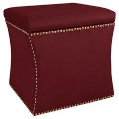 Nail Button Storage Ottoman - Ancient Stewart Red