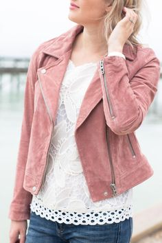 My Wear (Almost) Anywhere Outfit, spring outfit, pink jacket, suede moto jacket, Florida blogger - Jamie Kamber