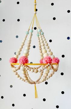 Wooden beads and pompons crown chandelier, hanging decor, nursery mobile, pajaki inspired ❊ This chandelier is made with natural wood beads, supported Diy Y Manualidades, Pom Pom Crafts, Diy Chandelier, Chandeliers, Handmade Felt, Etsy Handmade, Handmade Home Decor, Wooden Beads, Diy And Crafts