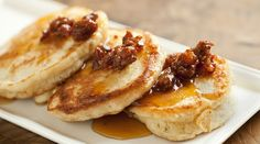 Crumpets with Chorizo-Maple Syrup - I want to try this!