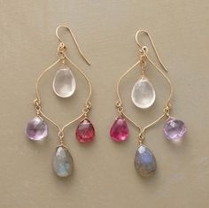 """RANEE EARRINGS -- Hand formed portrayals of the Taj Mahal's curvaceous dome host an appropriately regal array of dangling briolettes: rose quartz, amethyst, pink tourmaline and labradorite. Crafted by Thoi Vo of 14kt goldfill with French wires. Approx. 2-1/2""""L."""