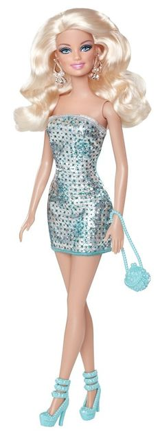 Fashion Glitter-Barbie Doll Glamour Style With Green Dress. Pretty!