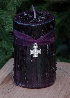 Witches Shield . Herbal Alchemy Magick Candle 2x3 Pagan . Pure Dragons Blood Resin . Protection from Evil, Psychic Vampires, Self Defense  http://www.etsy.com/shop/WhiteMagickAlchemy