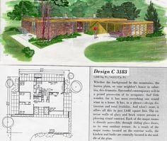 Design C 3183 | Flickr - Photo Sharing! 3 Bed, 2 Bath, Carport Vintage House Plans, Modern House Plans, House Floor Plans, Vintage Houses, Mcm House, Googie, Mid Century House, House Painting, Midcentury Modern