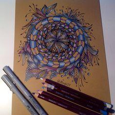 """""""Sunday doodle #draw #doodle #derwent #doodles #doodleart #zenart #zendala #zentangle #pen #ink #instaart #tattoo #freehand #drawingbyme #art #artwork…"""""""
