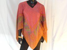 Boho poncho scarf shawl. Indian silk poncho top. Indian silk scarf. Indian stole poncho dress. From Artikrti
