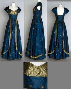 1950 Blue silk taffeta w/ metallic gold brocade dress, fashioned from Indian sari. 1950 Blue silk taffeta w/ metallic gold brocade dress, fashioned from Indian sari. Long Gown Dress, Sari Dress, Anarkali Dress, Saree Gown, Lehenga, Sarees, Pretty Outfits, Pretty Dresses, Beautiful Dresses