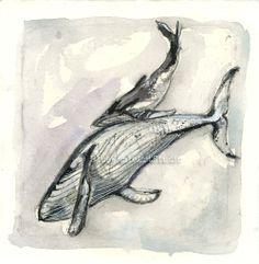 Playful Whales II Original Watercolor by BlueWhaleArtStudio, $45.00