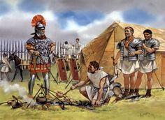 """""""Centurion and legionaries in camp, c. 115 AD"""", Angus McBride"""