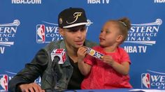 """Riley Curry, I'm dying. Steph, thank you, for the Warriors win and for her. """"Riley Curry Returns for a Post-Game Encore Performance"""""""