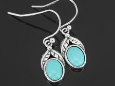 Southwest Style By Jtv (Tm) Oval Cabochon Blue Mexican Campitos Turquoise Sterling Silver Earrings