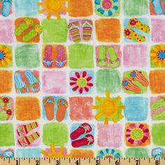 flip flop fabric for quilting | ... Fun Beach Patchwork White - Discount Designer Fabric - Fabric.com