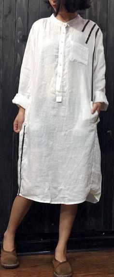1afaa469abd white plus size long sleeve stand collar shirt dress linendress boutique  linen