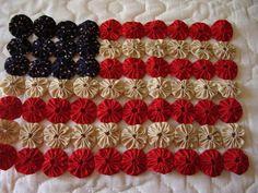 Primitive Yo Yo Flag - She used tea stained fabric - No tut, just inspiration