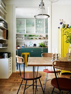 This Swedish Home fits all the trends! Frosted glass, pop colors, boho or retro!