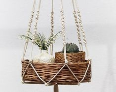 Check out our body jewelry selection for the very best in unique or custom, handmade pieces from our shops. Macrame Plant Hanger Patterns, Macrame Plant Holder, Macrame Plant Hangers, Macrame Patterns, Plant Holders, Indoor Plant Hangers, Hanging Plants, Hanging Terrarium, Macrame Art