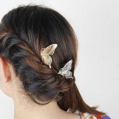 Moda pelo de la mariposa peine nupcial pelo de la boda accesorios del pelo se pega mujeres horquilla tocado FJ045