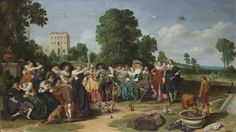 Dirck Hals mostly painted people enjoying themselves, yet often included a moral message.  In this painting of an ostensibly frivolous party, the chained monkey in the foreground represents man living in sin and unable to free himself. It is an admonition to the viewer to avoid licentious behaviour. Dirck Hals, 1627.