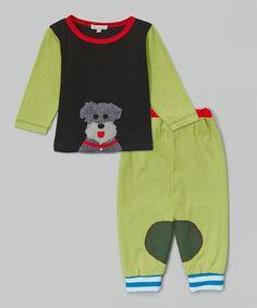 Look at this #zulilyfind! Lime Schnauzer Tee & Pants - Infant, Toddler & Boys #zulilyfinds