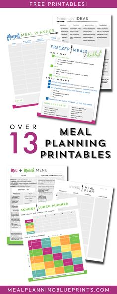 Lots of free meal planning printables - planners, checklists, menus, and ideas! #mealplanning #freeprintables #mealprep #freezermeals