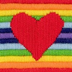 Heart Long Stitch (Rae) Anchor Long Stitch starter needlecraft kit for children. Includes a printed 12 count coloured canvas. Anchor wools, needle and full instructions. Kit Rae, Mabel Pines, Rainbow Aesthetic, Cross Stitch Kits, Retro, Just In Case, Hoseok, Canvas Prints, Embroidery