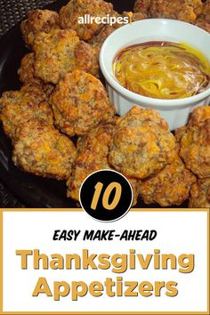 "10 Easy Make-Ahead Appetizers To Save You Time This Thanksgiving | ""Save precious time on Turkey Day by prepping these easy make-ahead Thanksgiving appetizers. I'll share 10 crowd-pleasing, make-ahead Thanksgiving appetizer recipes, plus tips for storage so you can sail into Thanksgiving with one less thing to worry about."" #thanksgiving #thankgivingrecipes #thanksgivingappetizers #appetizerrecipes Easy Make Ahead Appetizers, Appetizer Recipes, Thanksgiving Appetizers, Thanksgiving Menu, Green Bean Casserole, Tandoori Chicken, Allrecipes, Green Beans, Crowd"