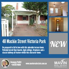 """""""#Property For #Rent: 48 Mackie #StreetVictoriaPark""""- Polished Jarrah floor boards, high ceilings, fireplaces and a classic hallway all feature within this character home. The immaculately maintained home consists of a separate kitchen with gas cooking and built in pantry, an inviting living room and 2 bedrooms, both complete with built in robes. To know more about this property click here: www.mavinrealestate.com.au Or  Contact Bronwyn Pollitt at 0478774004"""