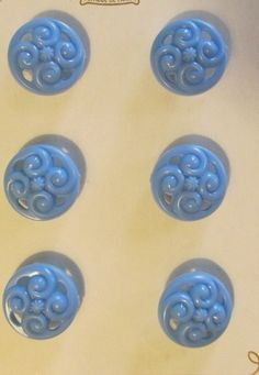 "6 - 3/4"" LA MODE BLUE OPENWORK PLASTIC SHANK BUTTONS-VTG ORIGINAL CARD Lot#105"