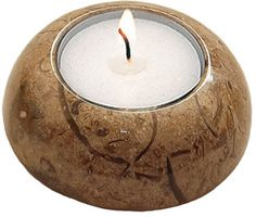 Elegant Fossil-stone D-shape candle holder measuring at 0.98 x 2.95 inches (2.5 x 7.5 cm).