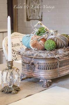 It's velvet pumpkin weather! Faux Pumpkins, Velvet Pumpkins, White Pumpkins, Fall Table Centerpieces, Modern Centerpieces, Table Decorations, Large Candle Holders, Large Candles, Vintage Crates