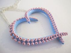 Baby Blue and Pink tentacle heart necklace by WalkingSquid on Etsy, $60.00