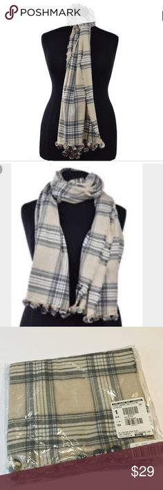 J Crew Pom Pom Checked Scarf Brand new. Heather natural/ gray color. 78 L X 24 W J. Crew Accessories Scarves & Wraps
