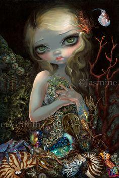 Soft Shell painting by Jasmine Becket-Griffith Jonathan LeVine Gallery big eye new contemporary art pop surrealism mermaid surreal Arcimboldo crabs nautilus