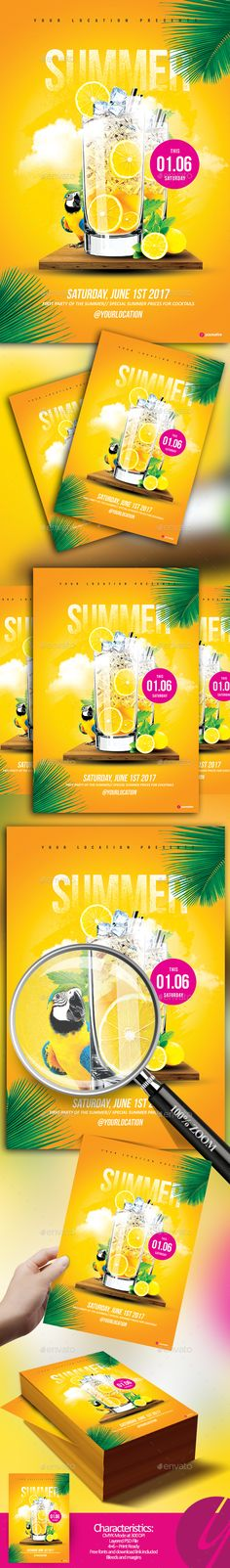 #Summer Drinks #Flyer - Clubs & Parties Events Download here: https://graphicriver.net/item/summer-drinks-flyer/19751066?ref=alena994