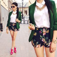 Floral shorts again (by Pam S) http://lookbook.nu/look/3738687-floral-shorts-again