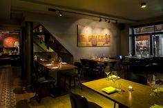 A sleek, modern Vietnamese in Soho with several qualities beyond its delightfully skanky name. Vegetarian London, London House, London Food, Step Inside, Restaurant Bar, Soho, Places, Modern, Table