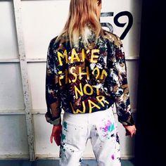 Make fashion not war . #Regram #Fashionkind brand @denimdoinggood coming soon to Fashionkind.com. #FashionForHumankind