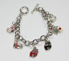 Gambling Charm Bracelet  Enameled Charms Cards Jackpot Money Silver Tone #Unbranded #Traditional
