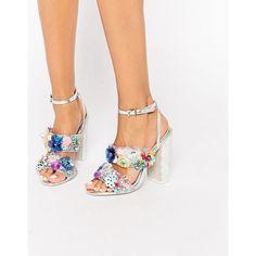 ASOS SALON HEROISM Embellished Heeled Sandals (400 SAR) ❤ liked on Polyvore featuring shoes, sandals, multi, floral print sandals, metallic shoes, glitter sandals, jeweled sandals and floral shoes