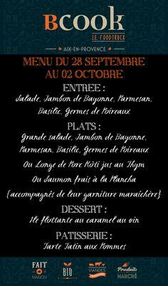 Menu du 28 Septembre au 02 Octobre 2015